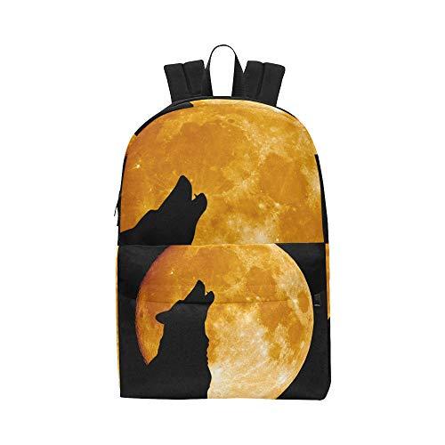Creepy Wolf Howling um Mitternacht Vollmond Klassische niedliche Daypack Taschen School College Kausal Rucksäcke Bookbag für Kinder Frauen und Männer Reisen mit Reißverschluss und ()