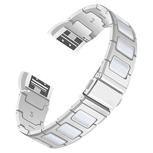 For Fitbit Charge 2 Strap, AISPORTS Fitbit Charge 2 Ceramics Stainless Steel Splicing Design Smart Watch Band Replacement Strap Bracelet Wrist Strap for Fitbit Charge 2 Fitness Accessories, Silver/White