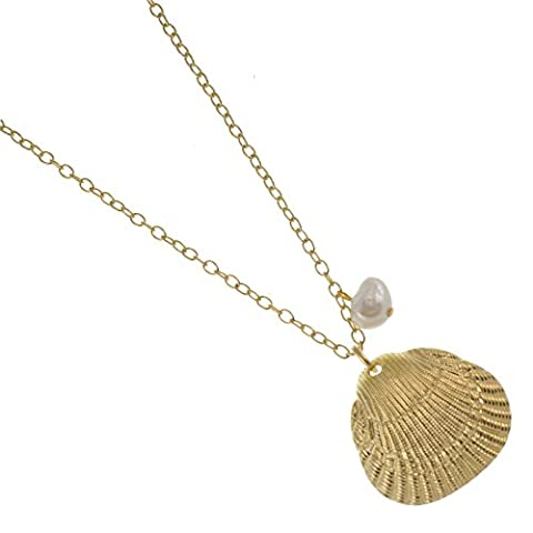 Danon Schmuck: 88cm lang Danon Halskette mit einem wunderbaren frischen Wasser Perle und vergoldet Scallop Sea Shell inspiriert Anhänger