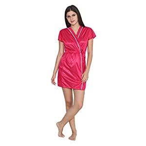 Ayush Retail Women Satin Bathrobe-Pink