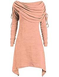 Elegante Vestido Largo de Mujer, Sudadera, Moda de Mujer de Manga Larga con un Hombro Desigual con Pliegues Irregulares, Camiseta, Camiseta, suéter, Vestido, Invierno, otoño