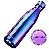 SEPT MIRACLE Sept miracolo tenere caldo e freddo in acciaio INOX colorato Water Bottle thermos ermetica doppia parete tazze di sport (500 ml) (Viola)