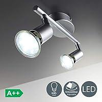 B.K.Licht 30-01-02-T - Lampada illuminazione a soffitto, Plafoniera moderna con corpo in metallo color titanio, 3 watts, 230V, GU10, IP20