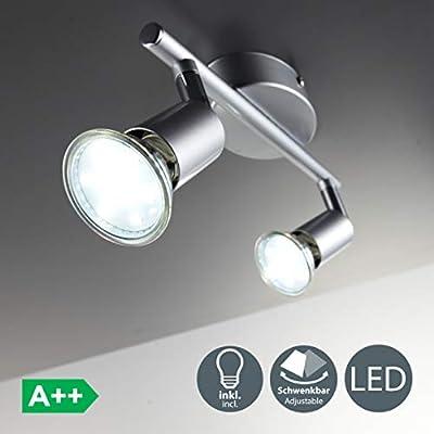 B.K. Licht Faretti LED da soffitto orientabili, include 2 lampadine GU10 da 3W, luce calda 3000K, plafoniera LED moderna da soffitto, corpo in metallo color titanio, 230V, IP20