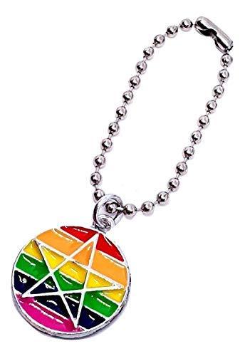 LGBT Gay Pagano Llavero Orgullo Arcoiris Pentáculo Llavero Esmaltado