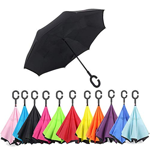 EAYIRA Double Layer Inverted Umbrella The Best Reverse Windproof Umbrella Folding Umbrella Windproof UV Protection Big Straight Umbrella for Car Rain Outdoor with C-Shaped Handle (Colour May Vary)