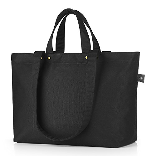 BONTHEE Canvas Tote Bag Handbag Women Large Shopper Shoulder Bag for School  Travel Work - Black Basic f9921030f31fb