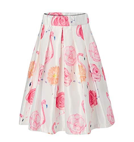 Alistyle ragazza a vita alta pieghe a-line floreale lunghezza del ginocchio vintage gonne vestito m