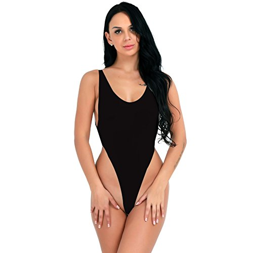 CHICTRY Damen Body Achselhemd Unterhemd Lingerie Dessous Top Transparent Bodysuit Push up Bikini Monokini Schwarz Weiß Schwarz One Size (Thong Body)