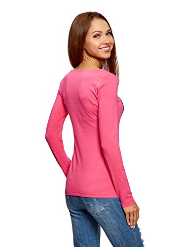 oodji Collection Donna T-Shirt con Maniche Lunghe Rosa (4D80P)