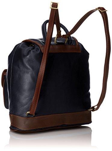 CTM Rucksack Tasche von Donna, 35x32x10cm, echtes Leder 100% Made in Italy Blau (Blu)