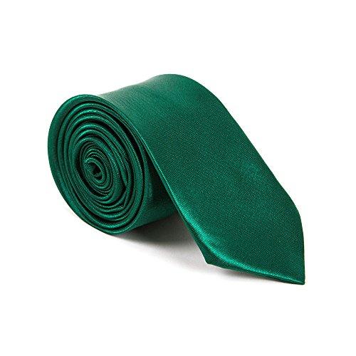Schmale Krawatte 5cm handgenäht Polyester Business Party Slips (Dunkelgrün Kostüme Perücken)