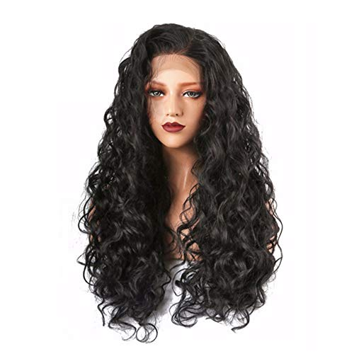 Lace Front Wigs Black Long Curly Wigs with Baby Hair Brazilian Virgin Human Hair Lace Front Wigs for Women 130% Density 26inch ()