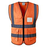 Gilet di sicurezza ad alta visibilità giallo e arancione e cintura di sicurezza(L, arancia)