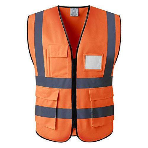 Gilets de sécurité Jaune et Orange Taille Petit & Sangle (L, Orange)
