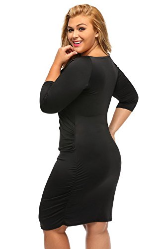 La Vogue Robe Femme Midi Tulipe Grande Taille Stretch Manche Courte Drapée Noir