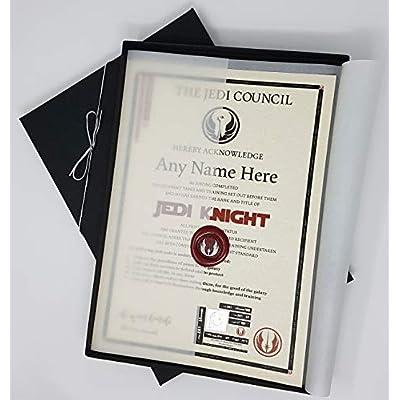 Caja de regalo Deluxe planetsforsale de un caballero jedi de Star Wars, certificada personalizada con el nombre de tu elección
