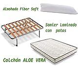 HOGAR24 ES Colchón Visco-Aloe + Somier Basic + Almohada De Fibra, 135x190 cm