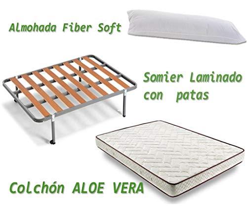 HOGAR24 ES Colchón Visco-Aloe + Somier Basic + Almohada De Fibra, 90x190 cm