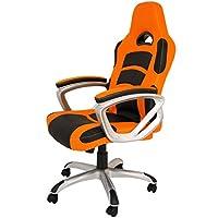 La Silla Española Luanco Silla de Oficina Gaming con Reposabrazos, Piel Sintética, Naranja y