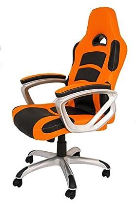 La Silla Española Luanco Oficina Gaming con Reposabrazos, Piel Sintética, Naranja y Negro, 50x48x127 cm