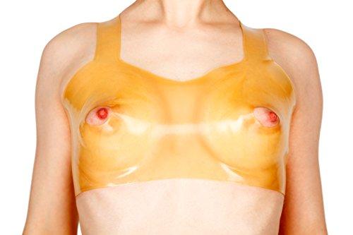 Latex BH mit Brustwarzenöffnung (L, transparent)