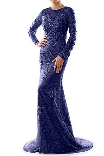 MACloth Women Mermaid Long Sleeve Lace Evening Formal Gown Wedding Party Dress Dark Navy
