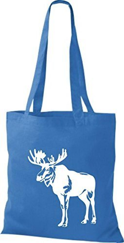 shirtstown Borsa di stoffa animale alce, elk, Karibus Blu reale