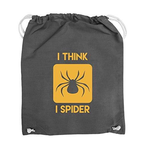 Comedy Bags - I THINK I SPIDER - Turnbeutel - 37x46cm - Farbe: Schwarz / Silber Dunkelgrau / Gelb