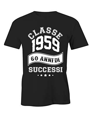 Puzzletee T-Shirt Compleanno 1959 60 Anni di successi - Maglietta 60 ° Compleanno - Idea Regalo - Classe 1963