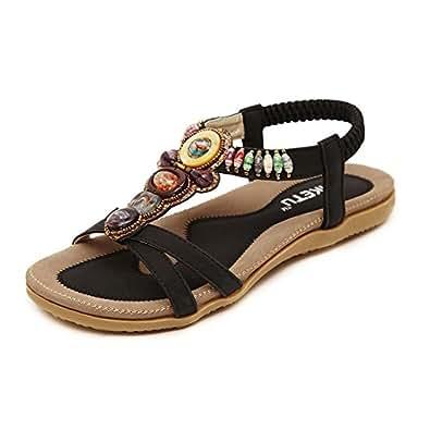 Damenschuhe Böhmen Sandalen Wohnungen Strand Schuhe Freizeit Sandalen Flip Flop Sommerschuhe Aprikose 38 EU i8KROOKC0