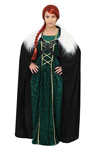 ILOVEFANCYDRESS Game of Thrones Wikinger Prinzessin=DAS Kleid IN 2 GRÖSSEN+GRÜN ODER ROT +UMHANG=KOSTÜME VERKLEIDUNGEN MIT ROTER ODER BLONDEN ZOPF PERÜCKE=AUCH MIT Schwert=GRÜN/XLarge+ROTE PERÜCKE