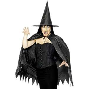 Set d'accessoires pour costume de sorcière chapeau de sorcière noir nez de sorcière couleur chair cape de sorcière déguisement de sorcière Halloween sabbat des sorcières magicienne ensorceleuse