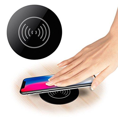 UKCOCO Universal Desktop, Wireless Charging Pad Qi Qi kabelloses Ladegerät Powermat lässt sich in eine Ladestation mit Öse Ø 76mm Loch für iPhone X/8Plus/8/7Plus/Samsung Galaxy S8/S8+/S7 (Charging Pad Qi Wireless)