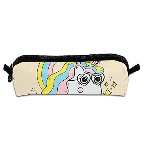 Pengyong Niedliches Einhorn mit Brille und Regenbogen-Studenten-Bleistiftetui mit Reißverschluss, kleine Kosmetiktasche, Make-up-Tasche, Münzbörse, für Kinder, Jugendliche und andere Schulbedarf