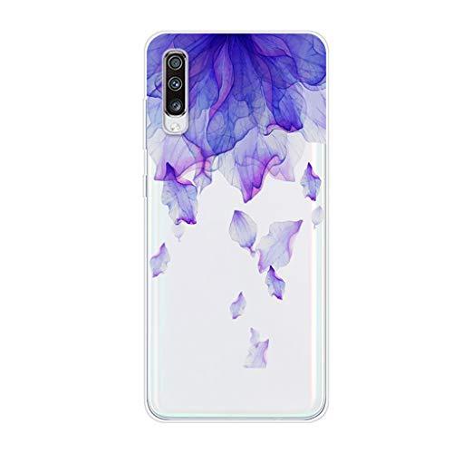 Preisvergleich Produktbild Karomenic Silikon Hülle kompatibel mit Samsung Galaxy A70 Kreative Cartoon Transparent Handyhülle Durchsichtig Schutzhülle Crystal Clear Weiche Soft TPU Tasche Bumper Case Etui, Lila Blütenblätter