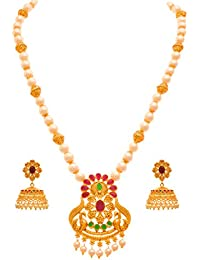 JFL - Traditional Ethnic One Gram Matt Gold Plated Peacock Stone & Pearls Designer Necklace Set With Jhumka Earring...