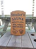 Enid18Bru Sauna-Schild, personalisierbar, aus Holz, Bedruckt, für Einweihung, Geschenk, Sauna-Accessoires, Bilder sitzen entspannt und genießen, 18 x 11 cm