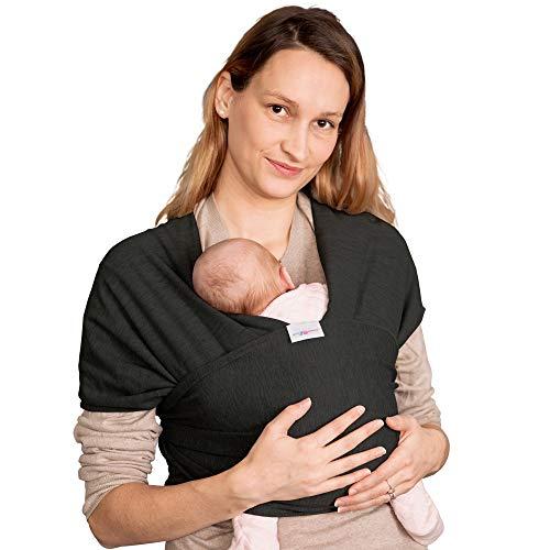 Elastisches Tragetuch Baby | Wickeltuch Baby Tuch | Babytrage Neugeborene bis Kleinkinder 15kg mit 3 Tragepositionen | 95{046585fd2c6c5f28d2be6dbd378d090002a0ce456f59b9ab4db711ba7e28c61f} Baumwolle 5{046585fd2c6c5f28d2be6dbd378d090002a0ce456f59b9ab4db711ba7e28c61f} Lycra - Schwarz