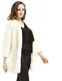 Moda blanco abrigo de piel de conejo , white , xl