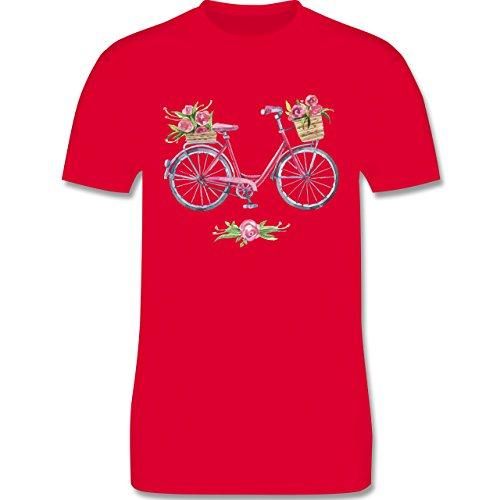 Vintage - Vintage Fahrrad Wasserfarbe Blumen - Herren Premium T-Shirt Rot
