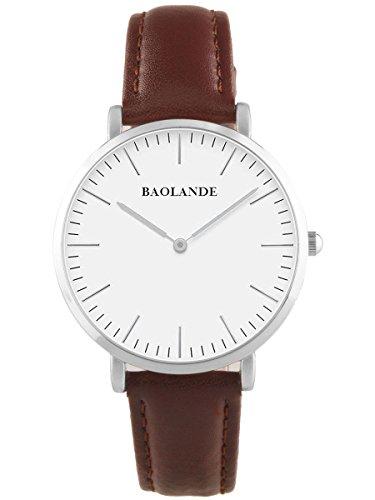 Alienwork Classic St.Mawes Reloj cuarzo elegante cuarzo moda diseño atemporal clásico Piel de vaca plata marrón