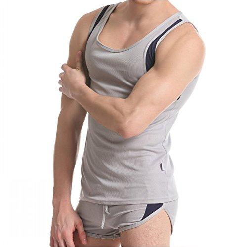 Zhuhaitf Männermode 2-piece Sets Mens Summer Soft Vest + Boxer Shorts Underpants Underwear Gray