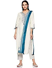 BIBA Women's Rayon Straight Salwar Suit Set