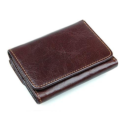 IOIOA Leder-Blocking-Trifold-Brieftaschen aus echtem, weichem Leder Große, Klassische Brieftasche mit 9 Karten, Photo-ID-Münzfach und 2 Scheinfächern,B (Rfid Zwei Id-geldbörse)