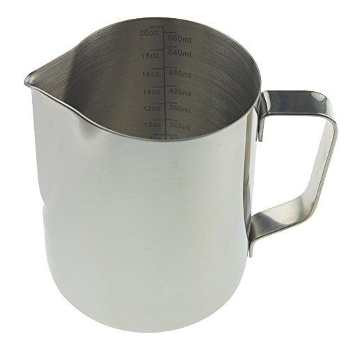 Lattiera da barista, 600 ml, in acciaio inox, ideale per latte macchiato e cappuccino