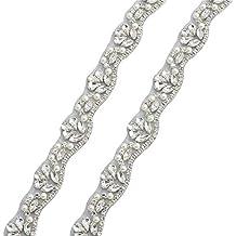 Rhinestone Applique 1 pulgada de ancho de la boda Trim para las cintas delgadas o bandas