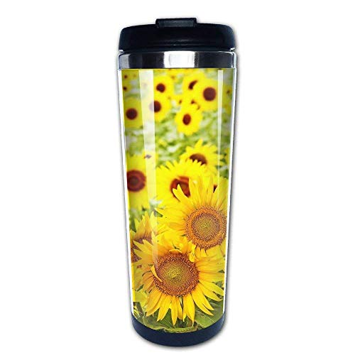 304 Stainless Steel Liner Coffee Cup Tumbler Mug Sunflowers Gold Fashion Travel Mug 400 Ml Water Bottles Portable Thermos Vacuum Flask -