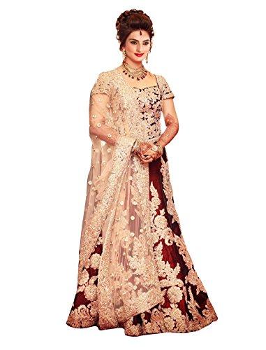 Sancom Women's Satin Banglory Silk Lehenga (ES-60159_Maroon_Free Size)
