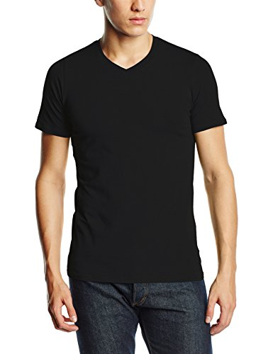 Stedman Apparel Herren T-Shirt Clive (V-neck)/st9610 Premium Schwarz - Black Opal